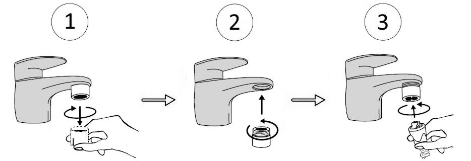 Collegamento con filtro adattatore per montaggio al rubinetto